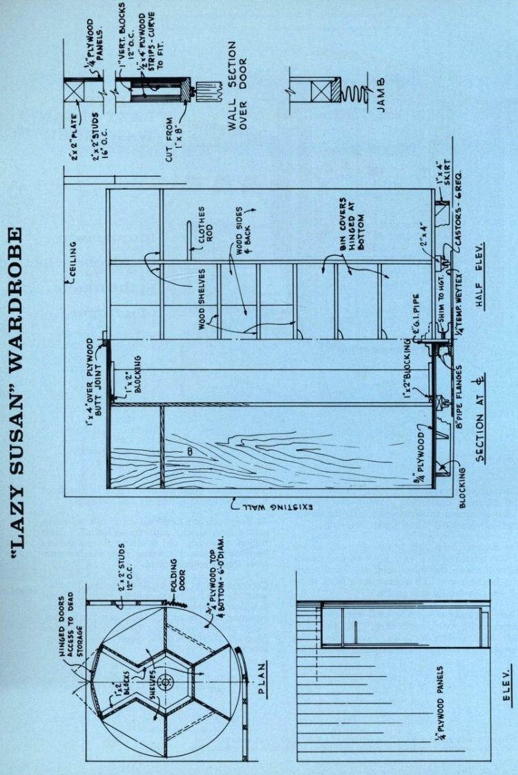 Make a 'Lazy Susan' wardrobe closet (1961)