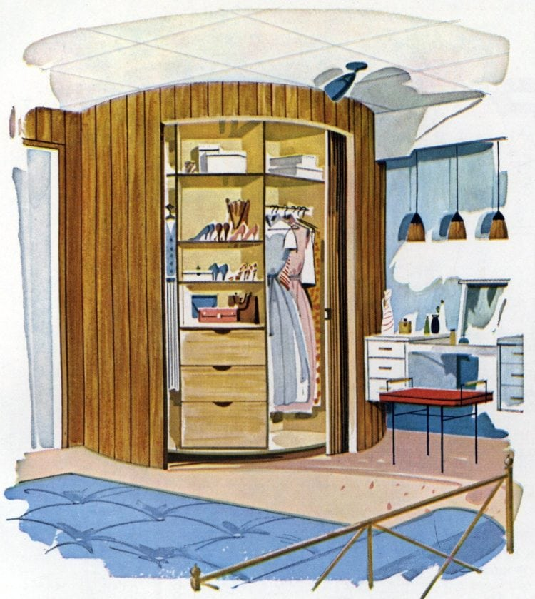Lazy Susan wardrobe closet home design 1961 building plan