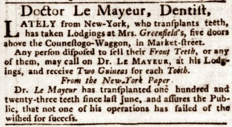Dr Le Mayeur, advertising for teeth in 1784