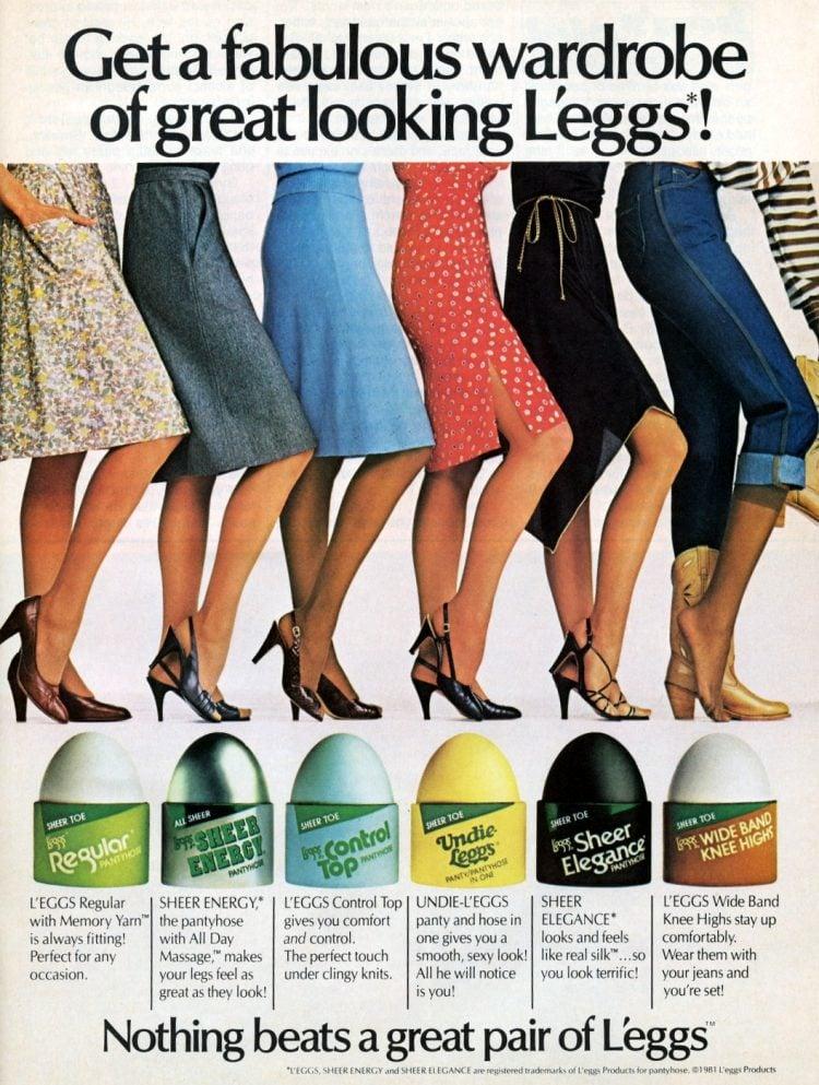 L'eggs pantyhose colors 1982