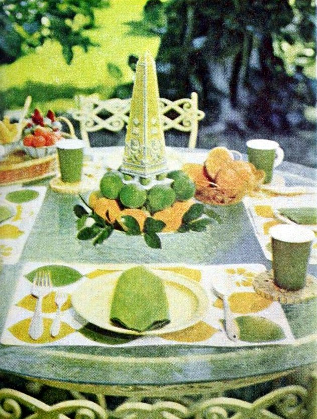 Lemon and lime 60s garden lunch table - 1966