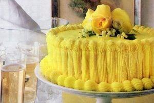 Lemon layer cake with lemon buttercream frosting