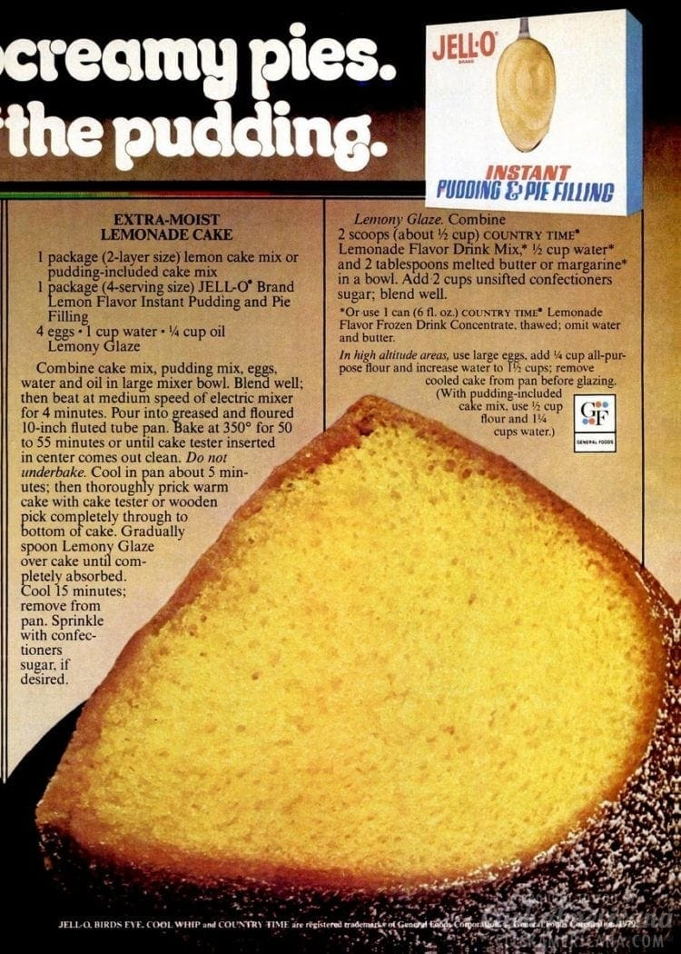 Lemonade cake recipe - 1979
