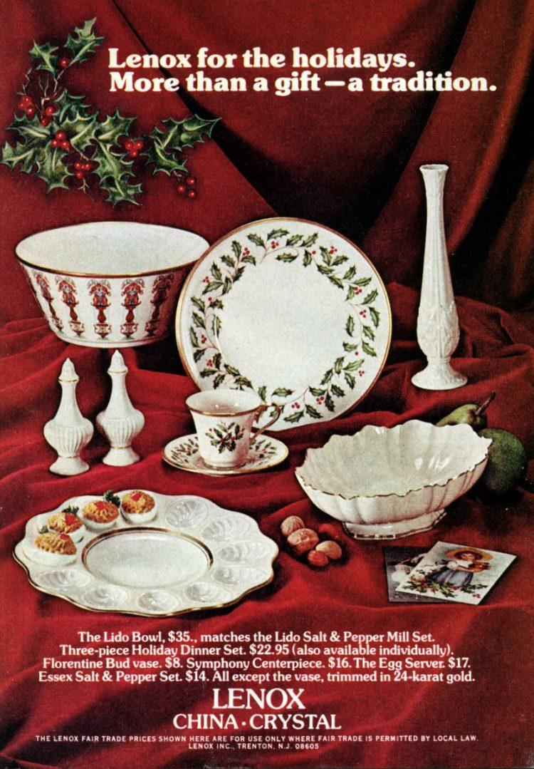 Lenox Christmas China for the holidays (1972)