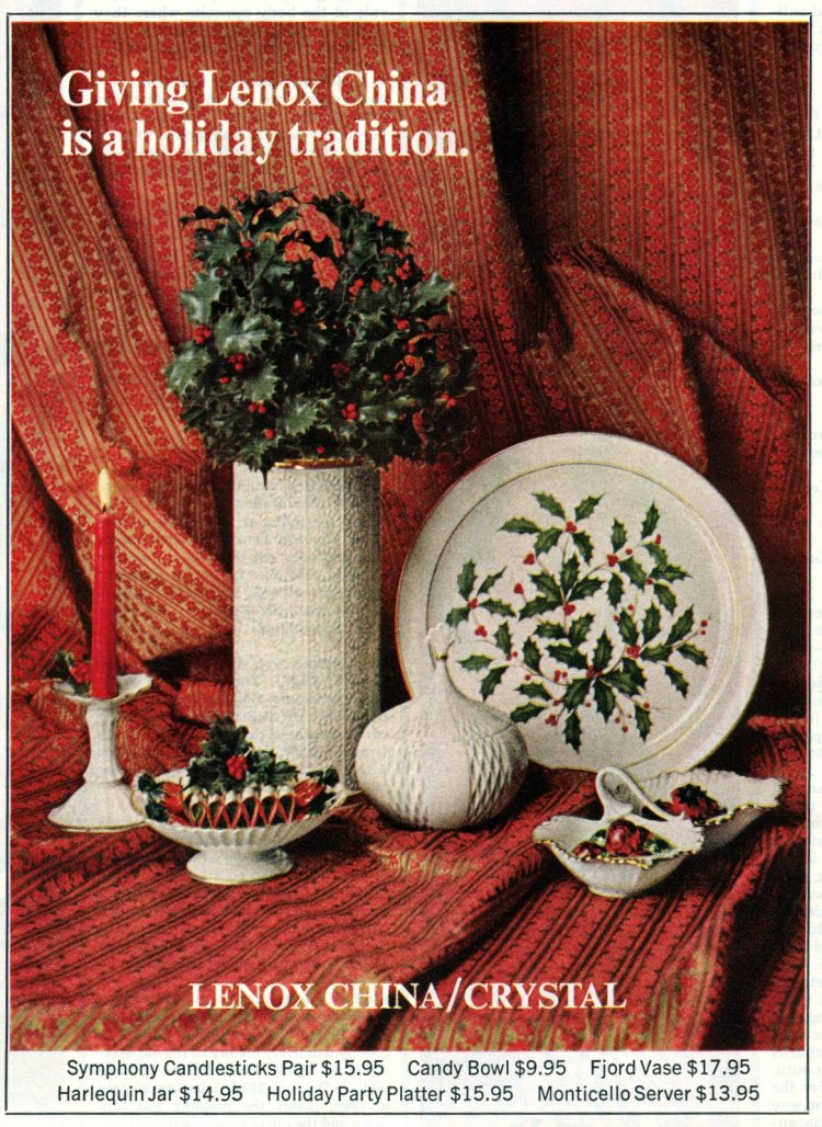 Lenox Christmas china from 1969