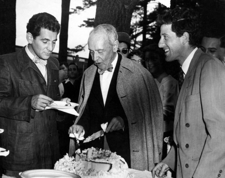 Leonard Bernstein, Serge Koussevitzky, Lukas Foss at Tanglewood, 1949