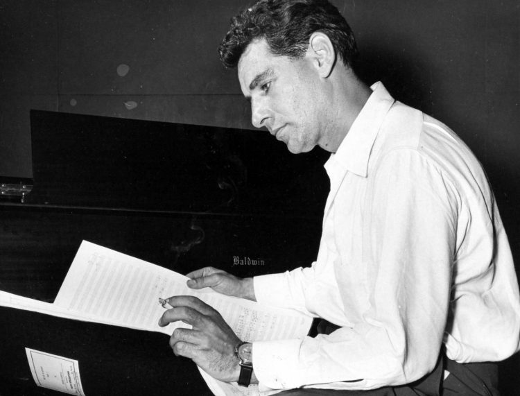 Leonard Bernstein with his score for Age of Anxiety after a session at Tanglewood, August, 1949