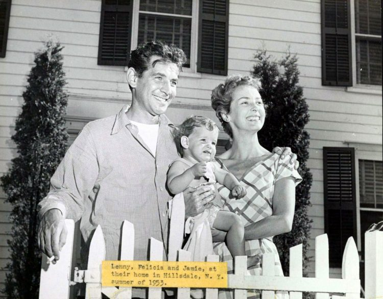 Leonard, Felicia and Jamie Bernstein, at their home in Hillsdale, NY, summer of 1953