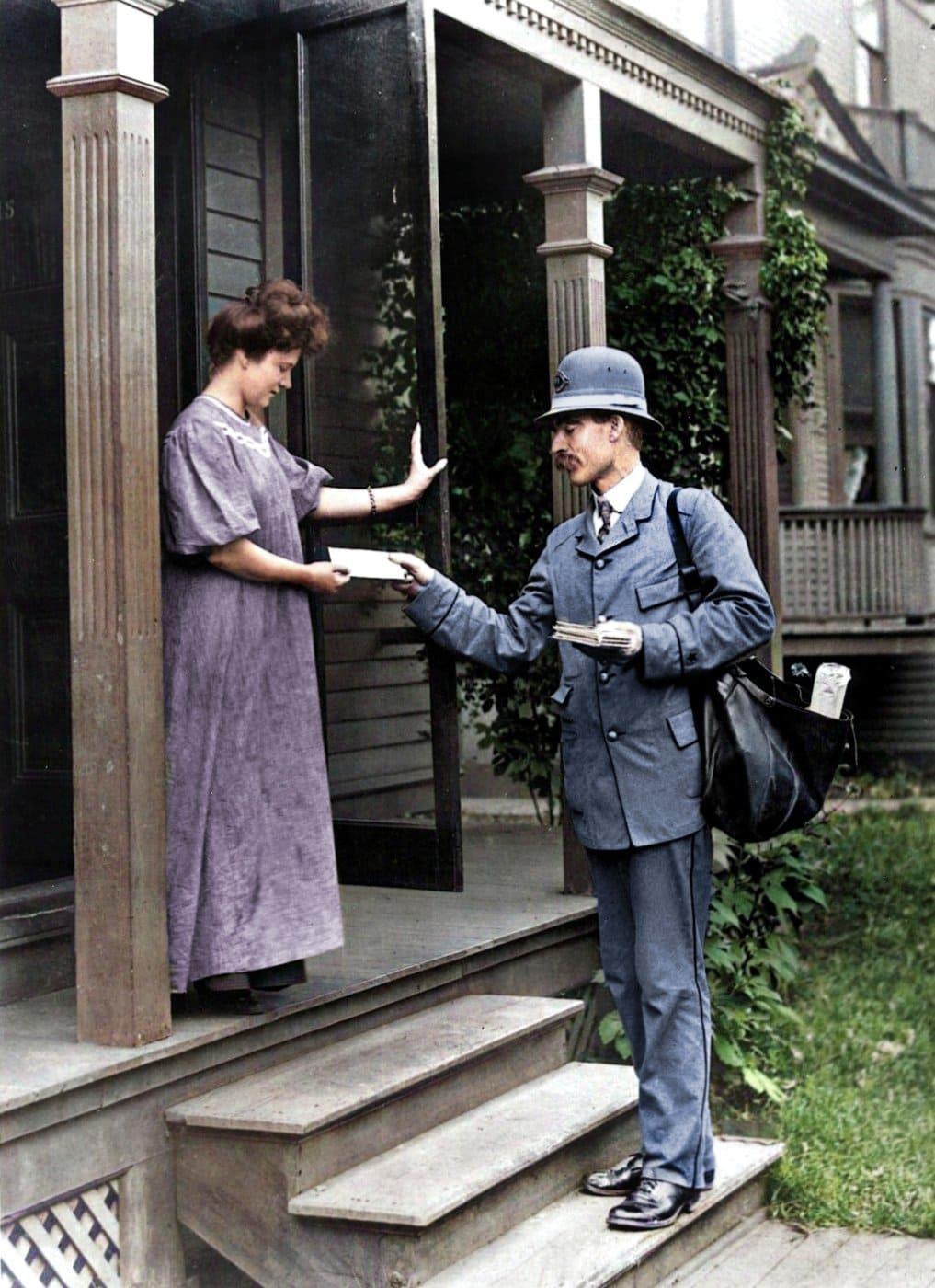 Letter Carrier delivering mail - US postal service (1908)