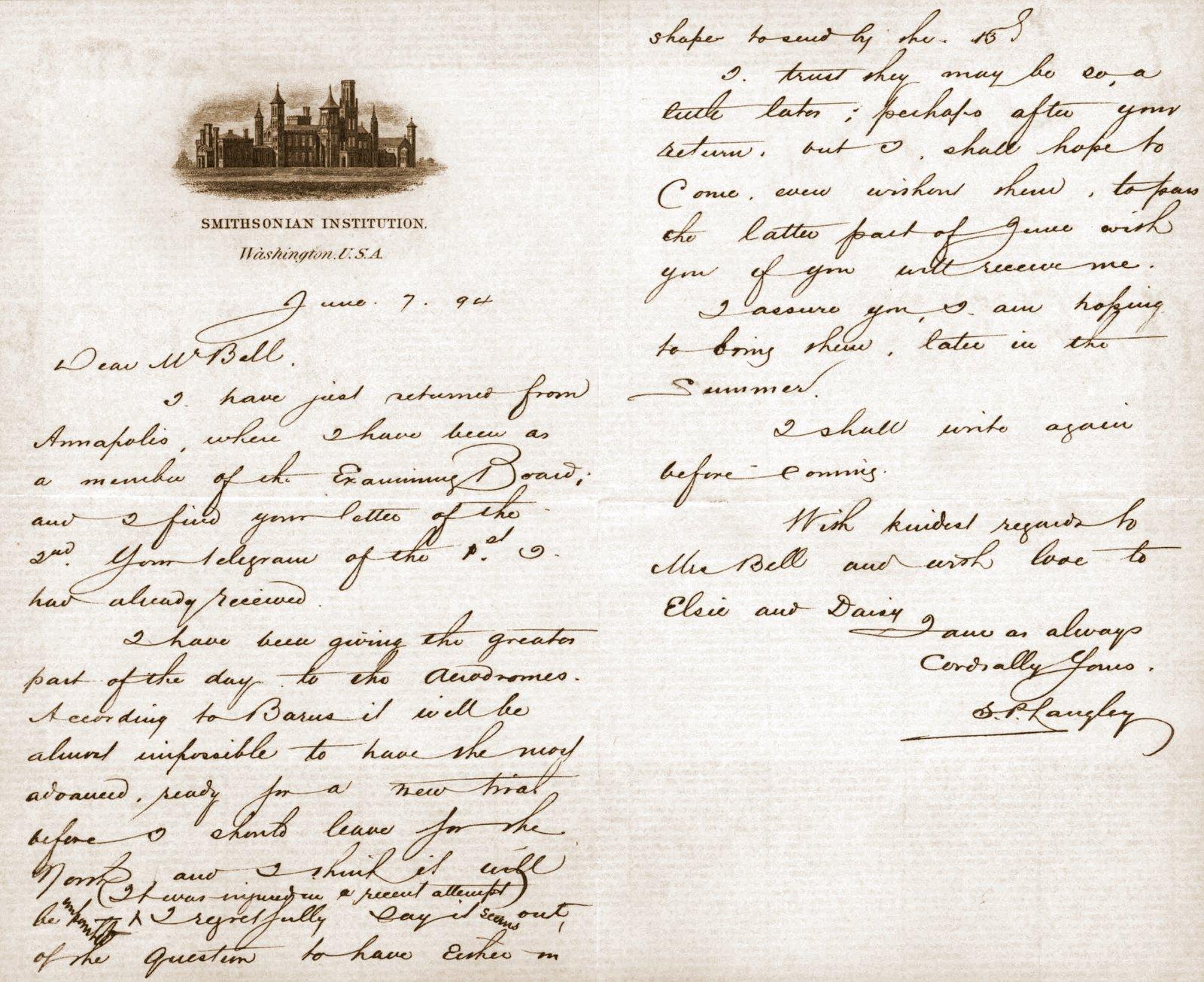 Handwritten letter from Samuel P. Langley to Alexander Graham Bell, June 7, 1894