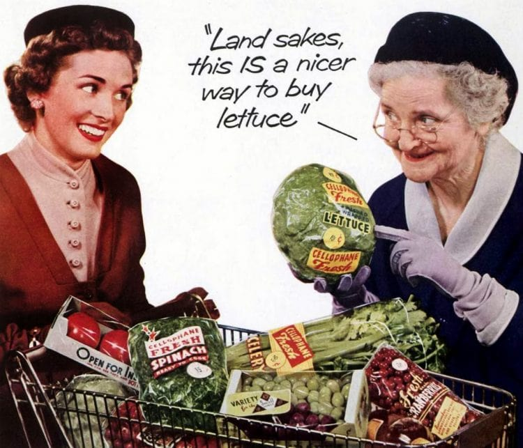 Lettuce at the grocery store in 1953