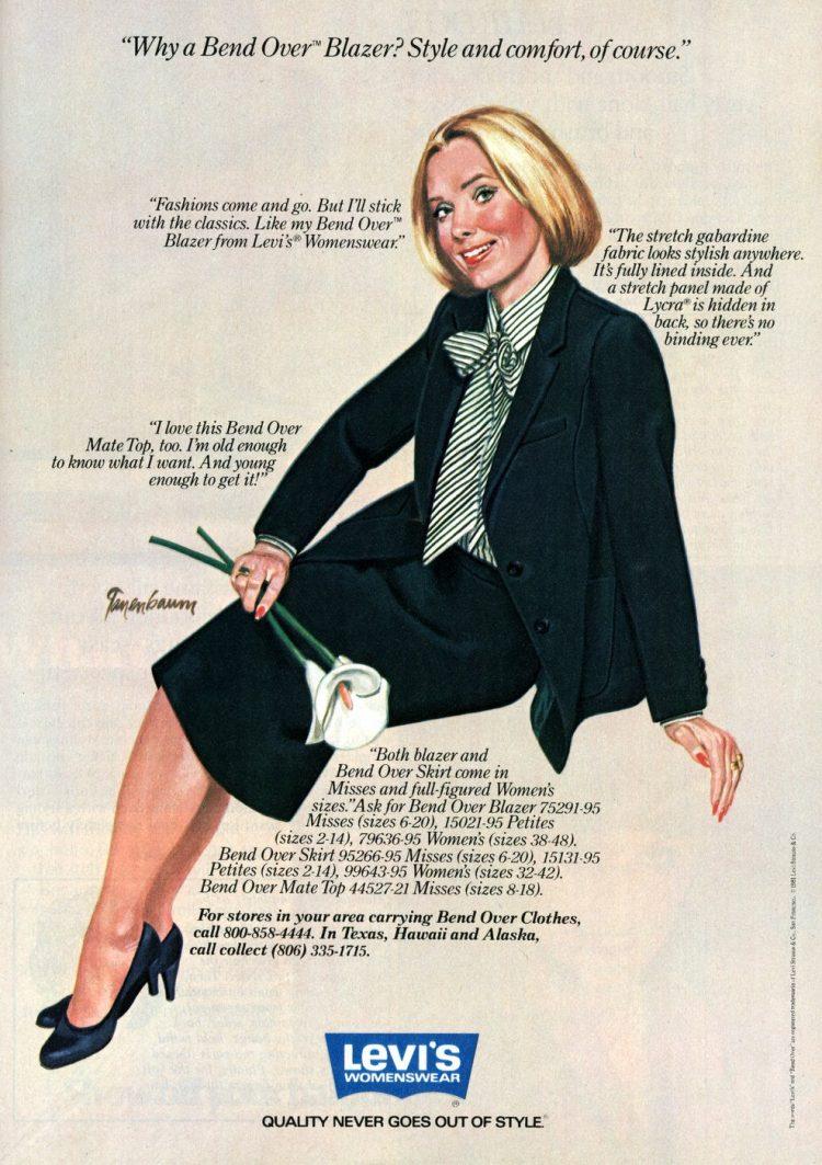 Levi's Bend Over blazers 1982