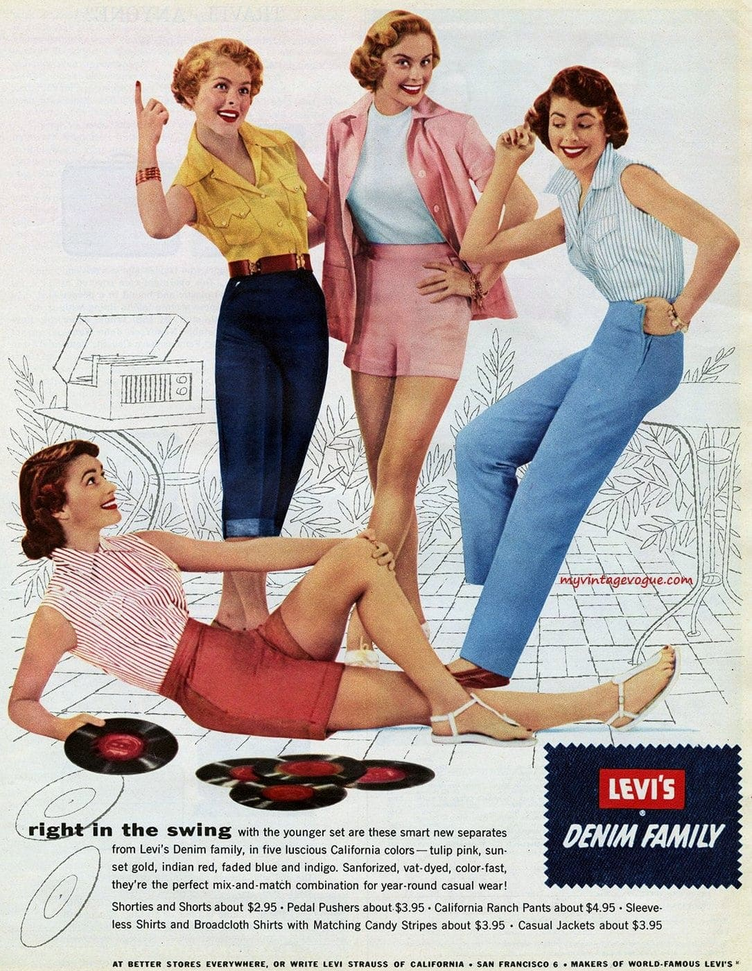 Levi's Denim Family - vintage clothing ad from 1954