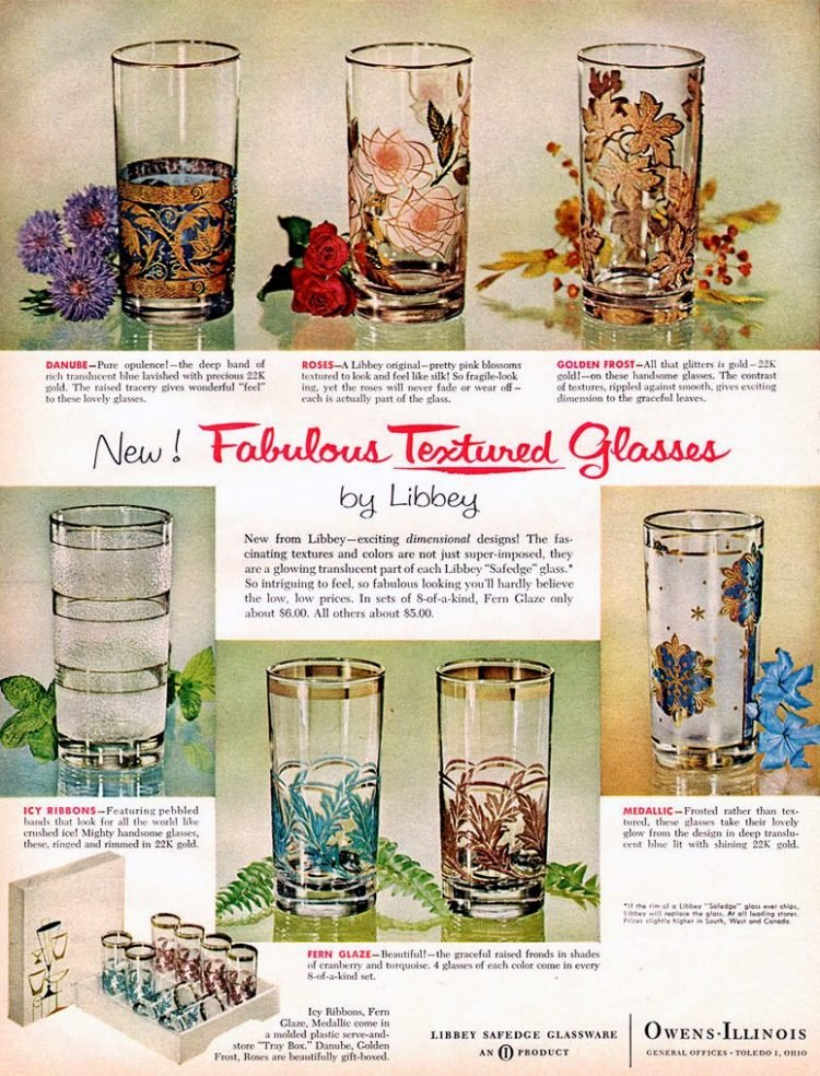 Libbey glasses Danube, Roses, Golden Frost, Icy Ribbons, Fern Glaze, Medallic