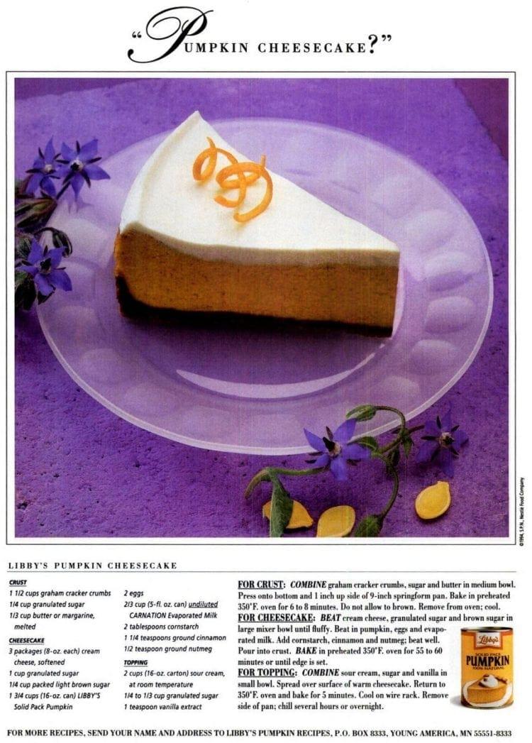 Libby's pumpkin cheesecake recipe (1994)