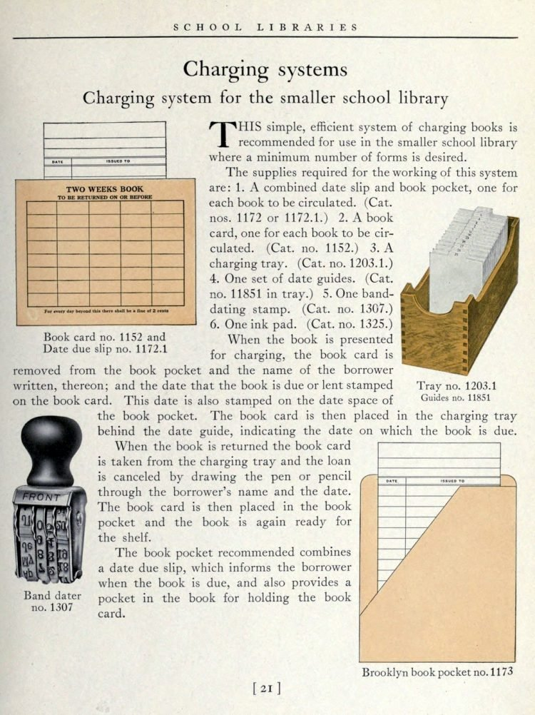 Library book check out systems from 1918