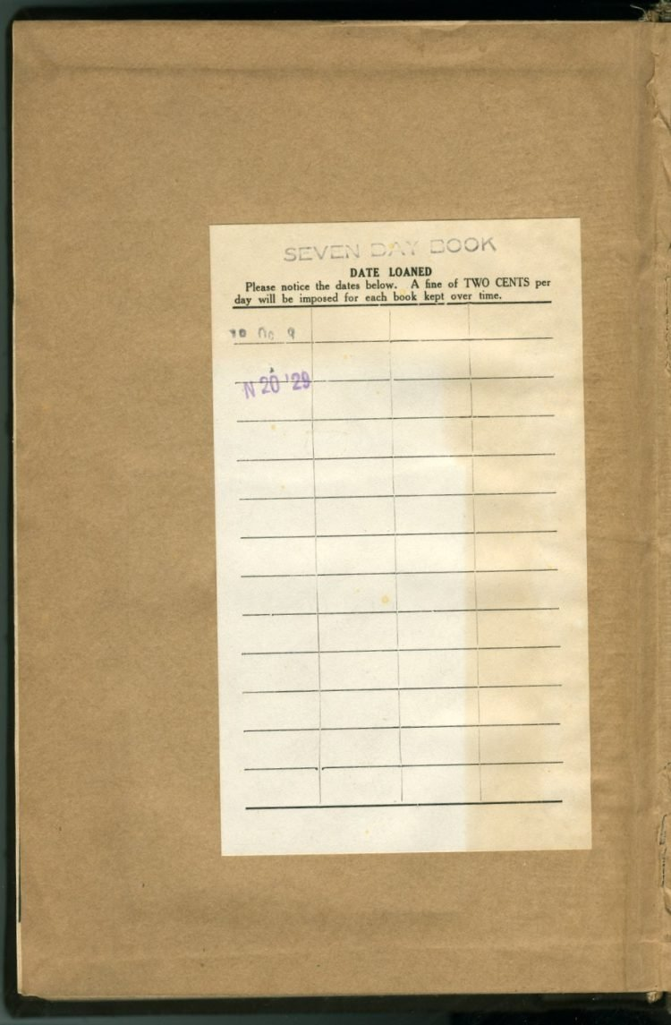 Library book checkout slip 1910s and 1920s