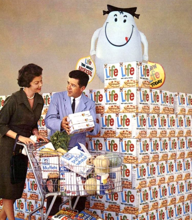 Life Cereal grocery store display from 1961