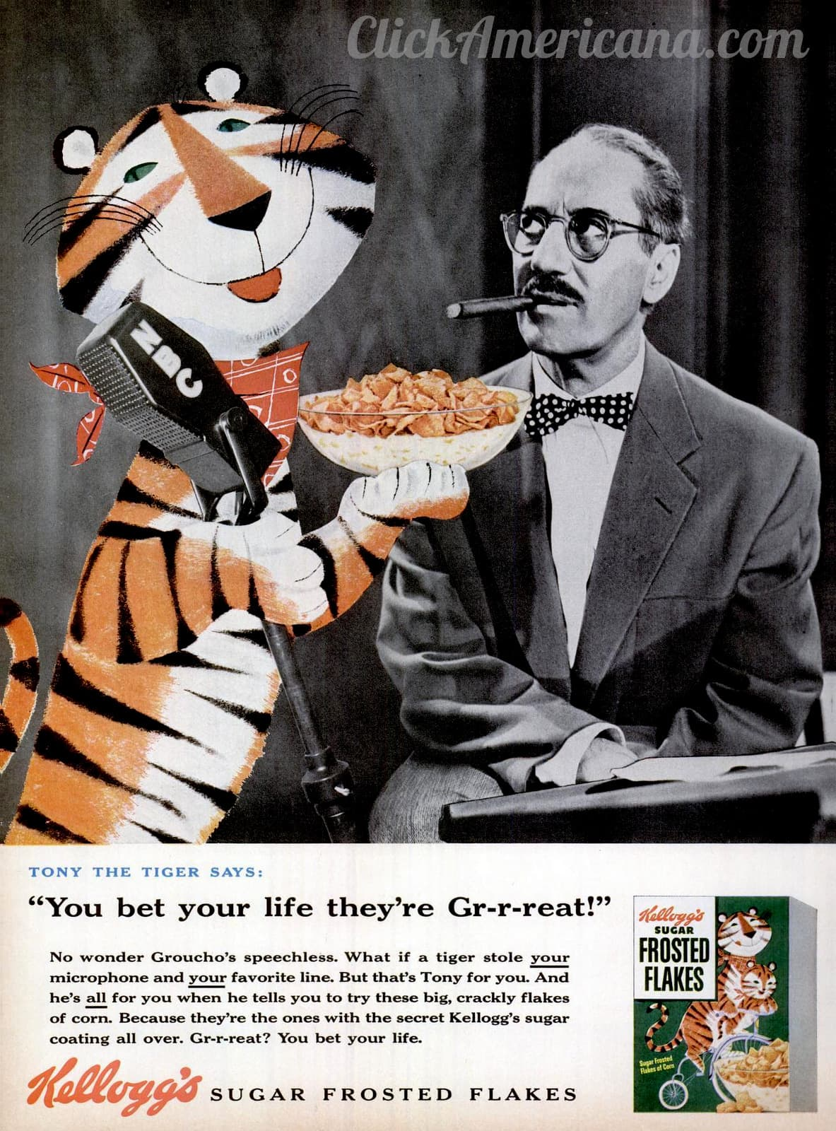 Sugar Frosted Flakes cereal - Groucho and Tony the Tiger (1955)