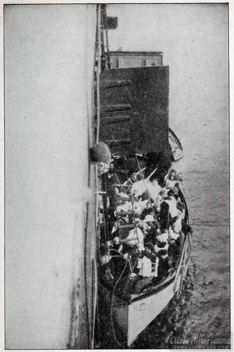 Lifeboat from Titanic is lifted aboard rescue vessel Carpathia 1912