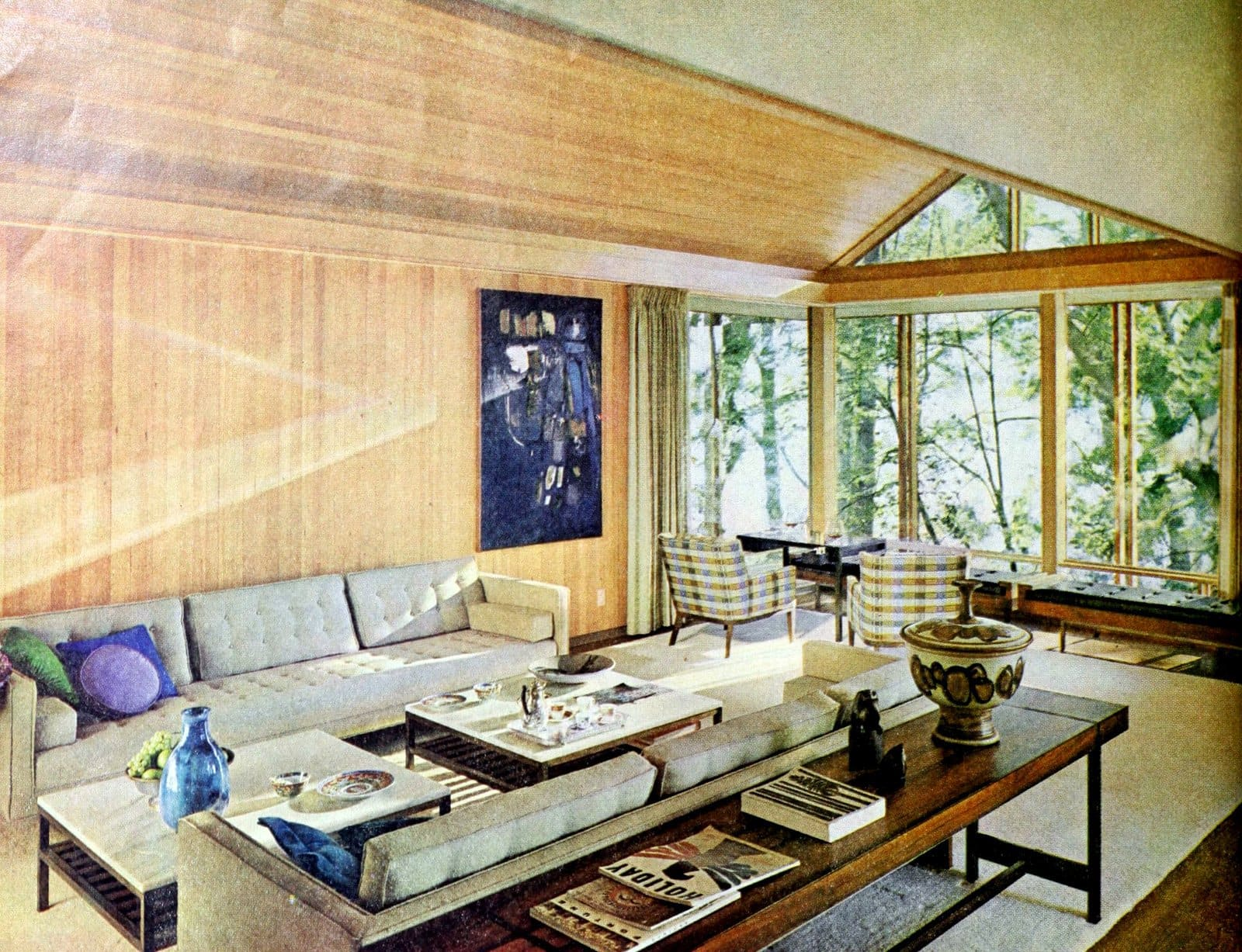 Light and airy retro sixties living room style