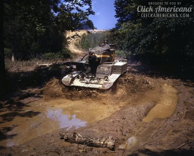 Light tank going through water obstacle, Ft. Knox, Ky.