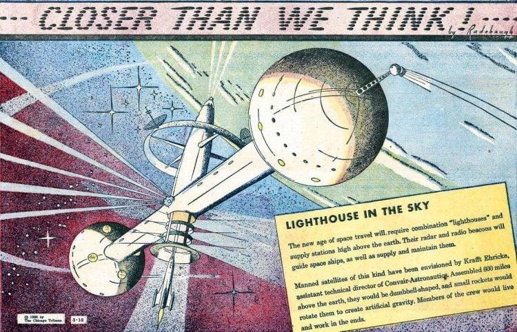Lighthouse in the sky- Futuristic vintage cartoon