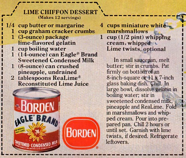 Lime chiffon dessert with marshmallows recipe card