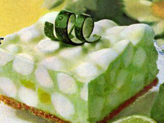 Lime chiffon dessert with marshmallows retro recipe 1970s