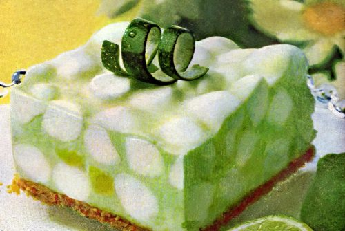 Lime chiffon dessert with marshmallows retro recipe 1970s