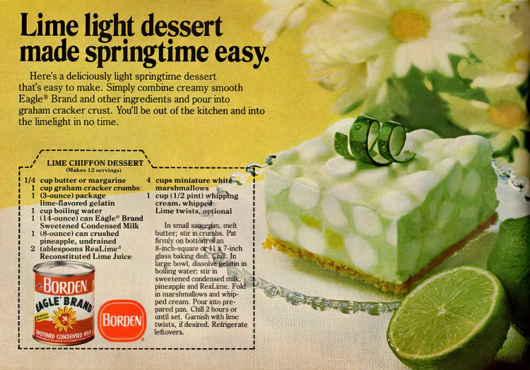 Lime chiffon dessert with marshmallows vintage recipe from 1978