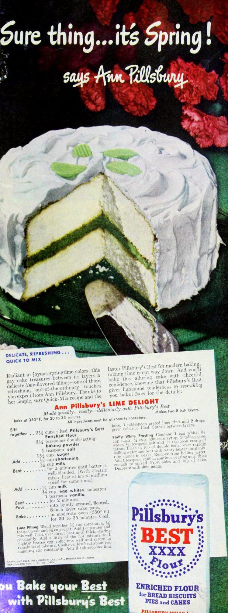 Lime delight cake recipe (1948)