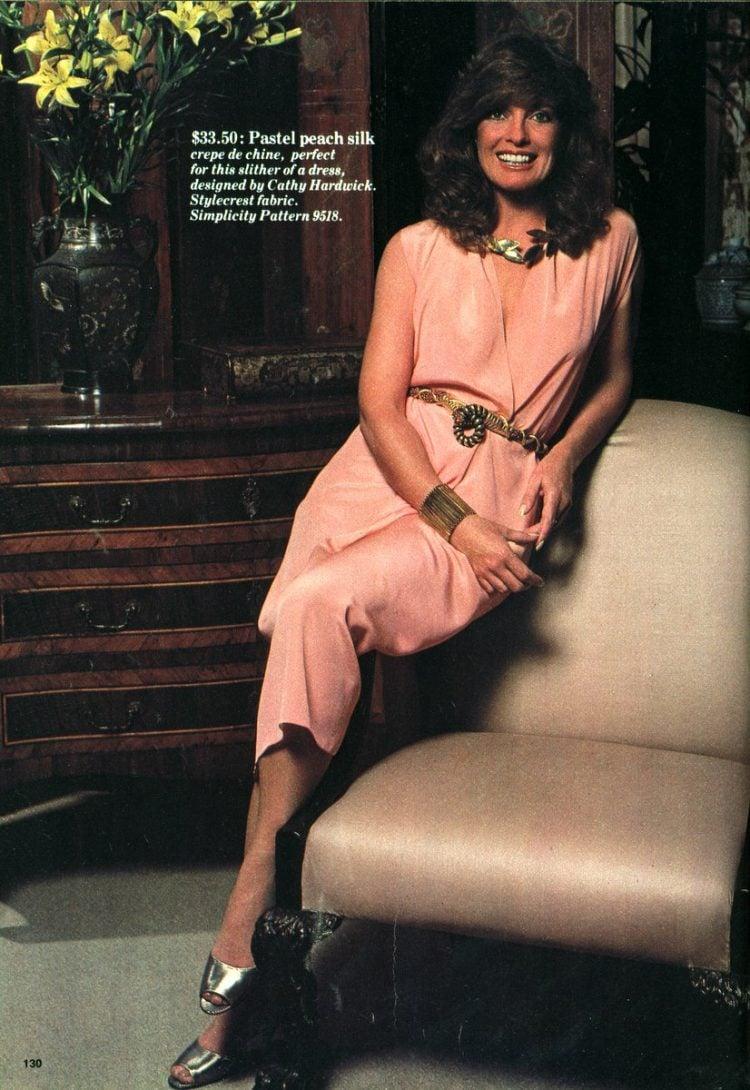 Linda Gray of Dallas models silk dresses to sew (1982)