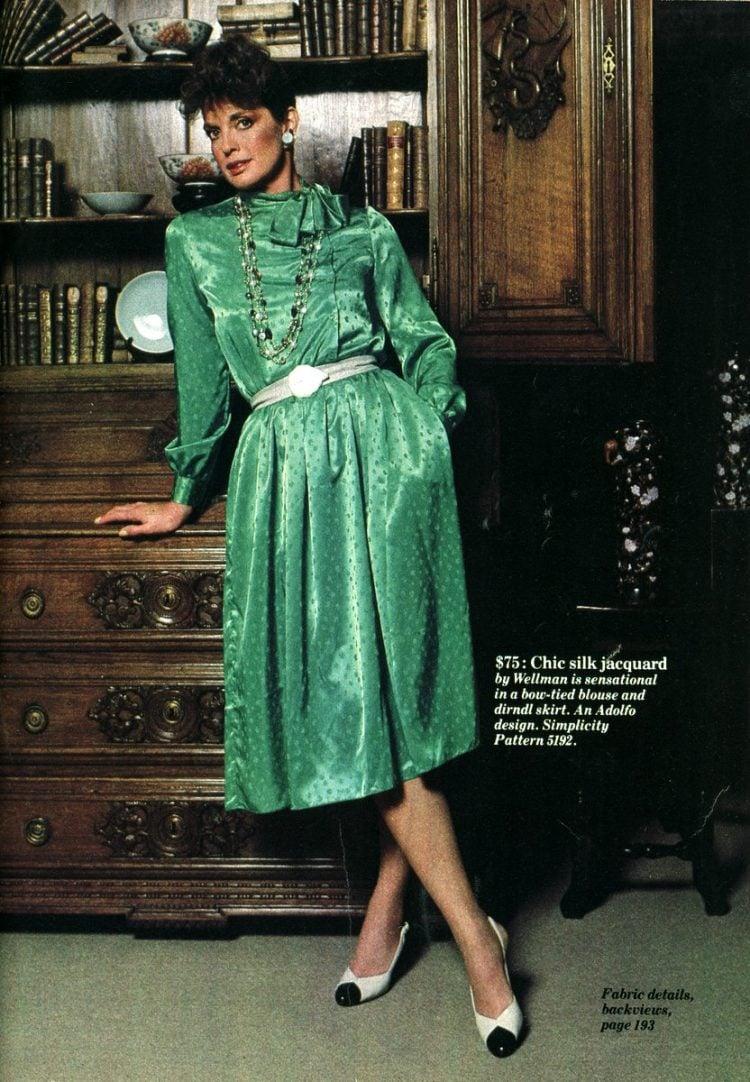 Linda Gray of Dallas models silk dresses to sew (1983)