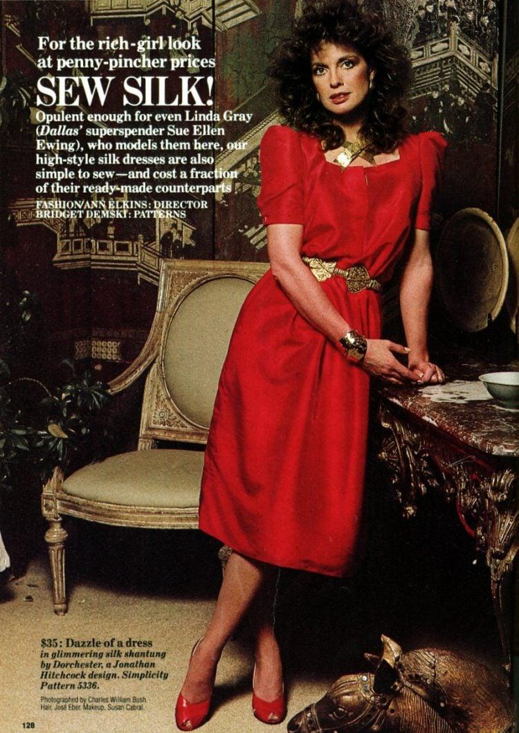 Linda Gray of Dallas models silk dresses to sew (1984)
