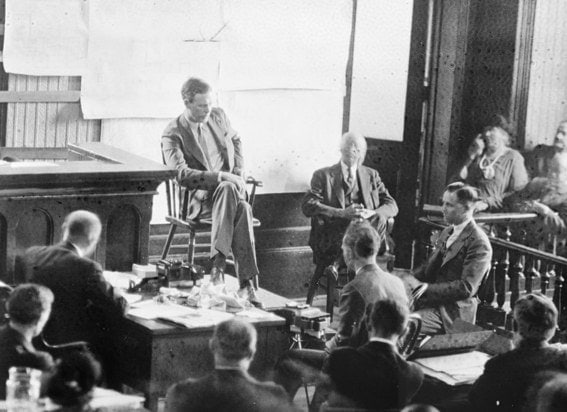 Lindbergh takes the witness stand during the 1935 trial of Hauptmann in Flemington, New Jersey. Photo via LOC