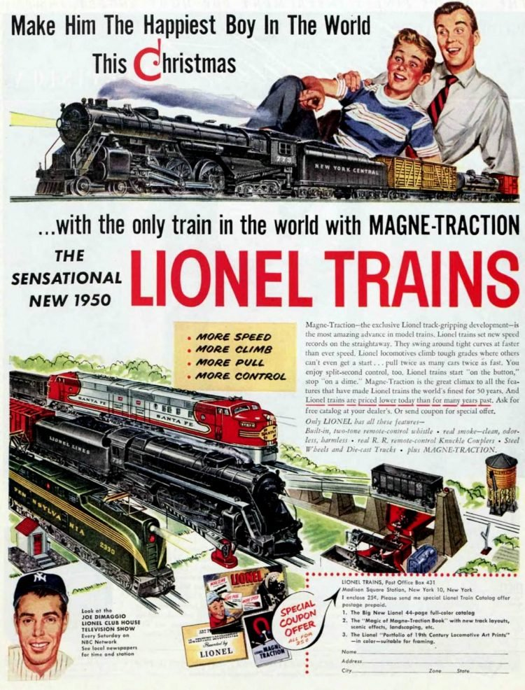 Lionel toy train sets from 1950