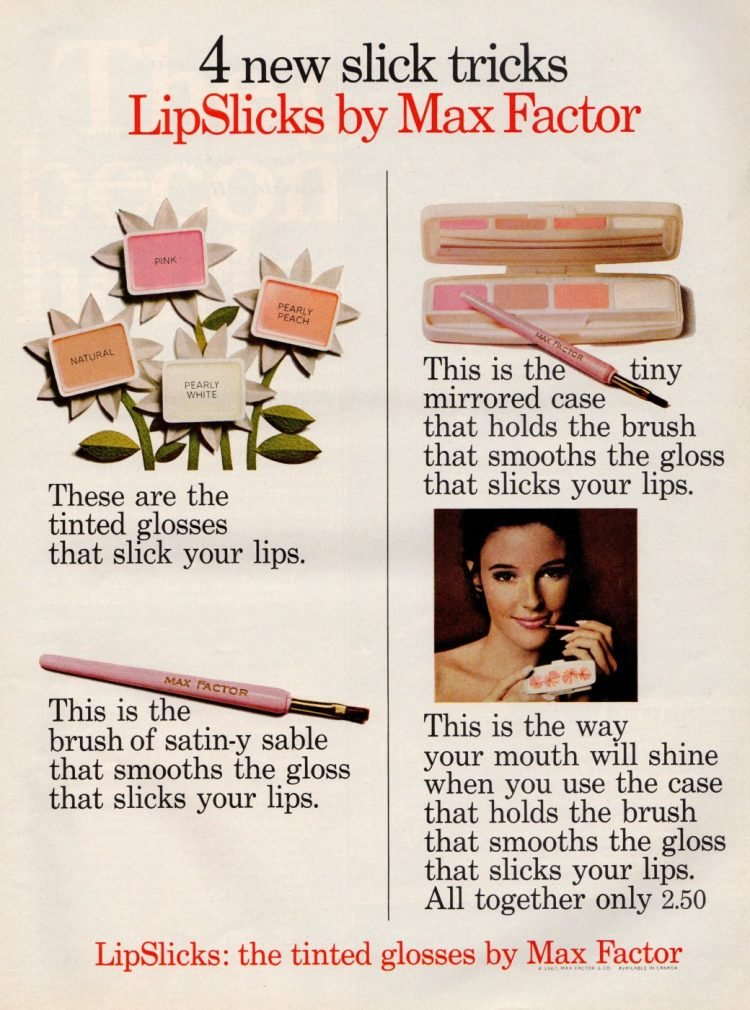 LipSlicks the tinted glosses by Max Factor 1967