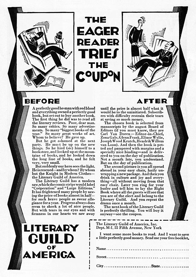 Literary Guild book club ad from 1927