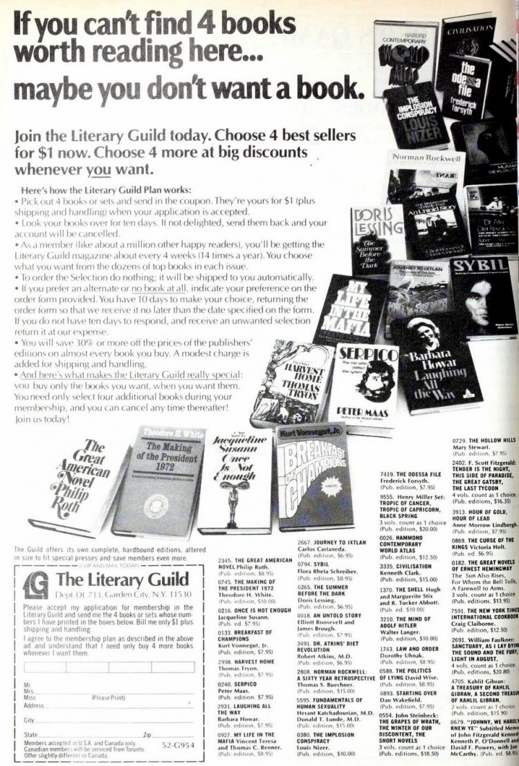 Literary Guild book club ad from 1977