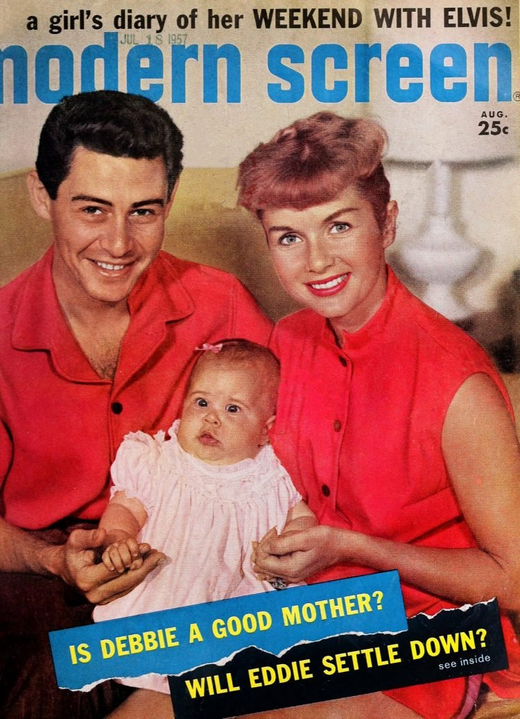 Little Carrie Fisher with her parents on the cover of Modern Screen 1957