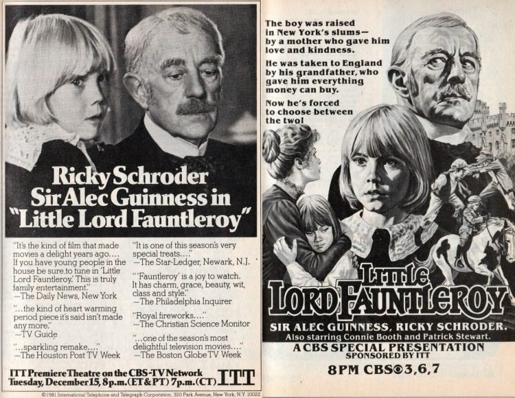 Little Lord Fauntleroy movie with Ricky Schroder and Alec Guinness