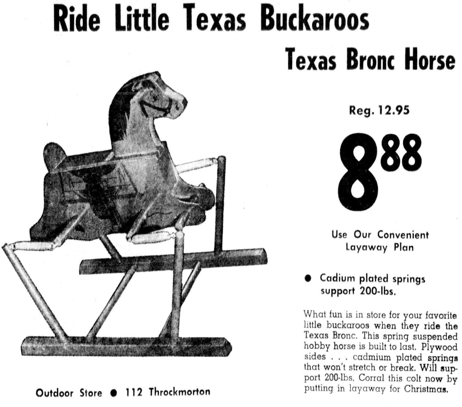 Little Texas Buckaroos - Texas bronc horse ride-on toy (1959)
