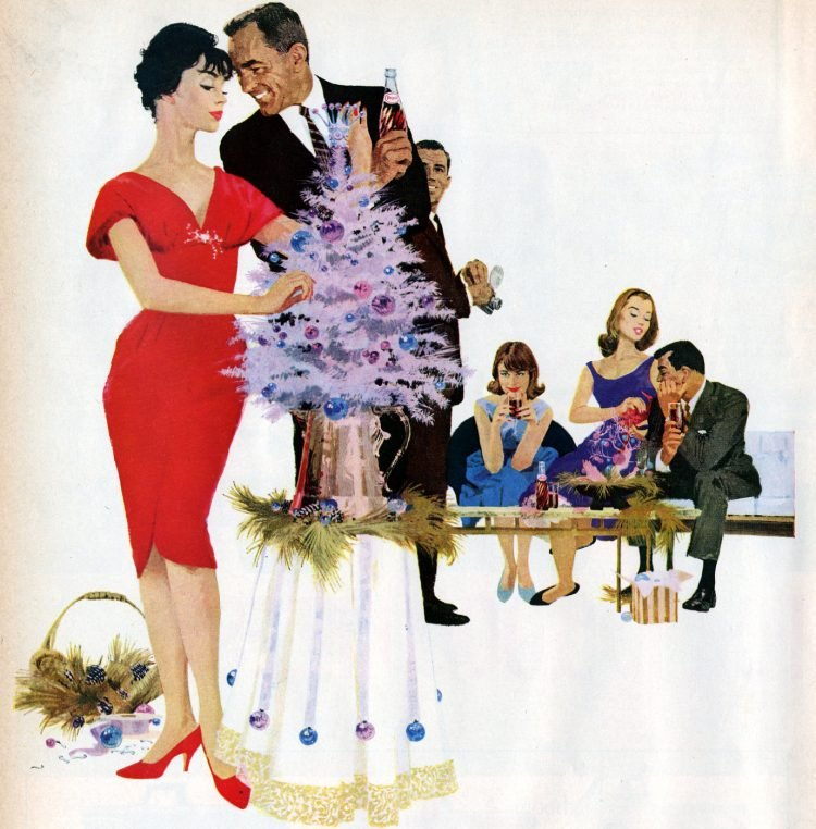 Little pink Christmas tree in 1960