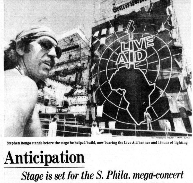 Live Aid concert - Philadelphia Inquirer - July 12, 1985