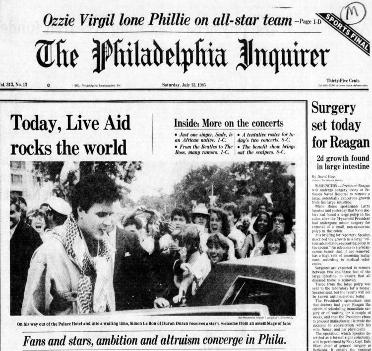 Live Aid concert - Philadelphia Inquirer - July 13, 1985