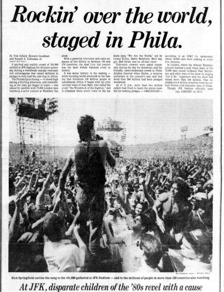 Live Aid concert - Philadelphia Inquirer - July 14, 1985