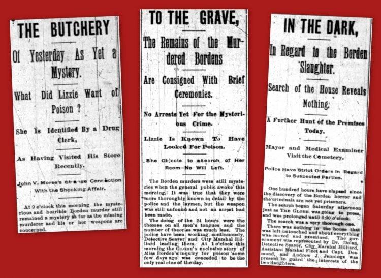 Lizzie Borden infamous axe murders - Early newspaper headlines