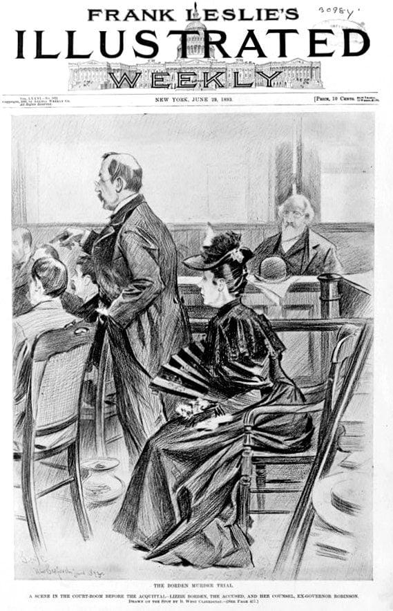 Lizzie Borden murder trail scene - 1893
