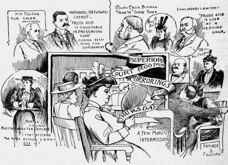 Lizzie Borden murder trial scenes - Boston Globe June 1893 (2)